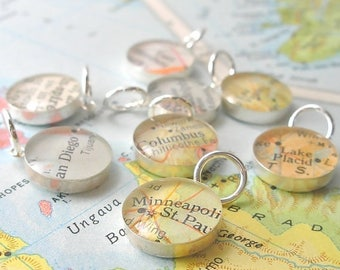 SUMMER SALE Handmade Sterling Silver Map Charm.  You Select the Journey. Coworker, Girlfriend, Stocking Stuffer
