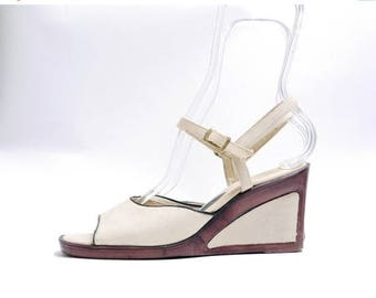 Summer Sale Size 7M// Vintage Canvas Wedges// Made by Risque Sandals// Canvas Wedge Slingback Heels // 111