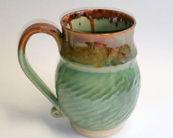 Large Green and Amber Handmade Mug - Wheel Thrown Pottery - Holds 22 to 24 ounces - Mega Mug!