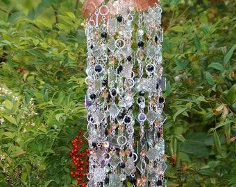 Glass Wind Chime - Glass Suncatcher - One Of A Kind Gift For Her, Garden Decor, Anniversary, Birthday, Wedding, Housewarming, Tranquille