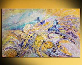 "61"" Original acrylic canvas painting flowers butterflies yellow blue background  violet gold colors spiritual art housewares wall decor"