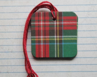 Green Red Plaid Gift tags 25 pieces ... paper over chipboard...