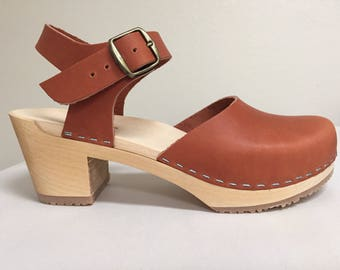 Rust oiled Medium heel Mary Jane with buckled ankle strap