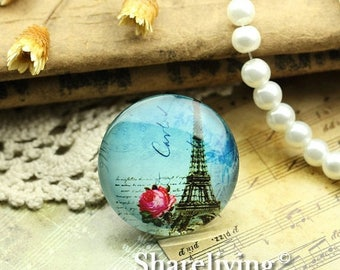 SALE - 30% OFF Glass Cabochon, 8mm 10mm 12mm 14mm 16mm 20mm 25mm 30mm Round Handmade photo glass Cabochons   (Eiffel Tower) -- BCH725D