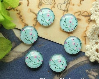 SALE - 30% OFF 12mm photo glass cabochon, 8mm 10mm 14mm 16mm 20mm 25mm 30mm Round Plum Flower glass Cabochon - BCH207Q