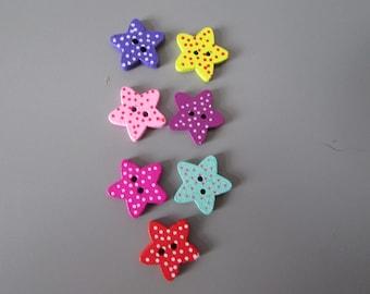 Star Polk Dot wooden  Buttons X 10