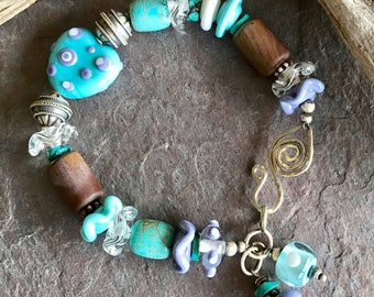 MY HEART - OOAK Handmade Lampwork, Turquoise, Picture Jasper, and Sterling Silver Bracelet