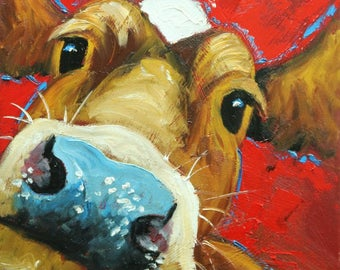 Cow painting 1229 12x12 inch original animal portrait oil painting by Roz