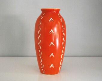 Art Deco Vase, Antique Orange Porcelain, Czech Bohemian Pottery, 1910s - 1920s Art Deco Decor, Fine Art Ceramic, Antique Art Pottery