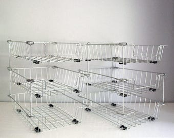 Stacking Wire Baskets, File Organizer Trays, In Box Trays, Desk Organizers,  Vintage