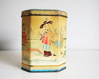 English Tea Tin, Antique Tea Caddy, Advertising Tin Box, Chinoiserie, Happy Chinese Family, Tin Litho Storage Container, Asian Boho Decor