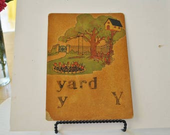 Vintage Teachers Hand Made Flash Cards  Y is for Yard     Letter Y     Hand Made Flash Card