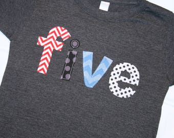 Boys Lowercase FIVE Shirt for 5th Birthday - Size 6 short sleeve dark heather gray shirt with lettering in red blue gray black chevron dots