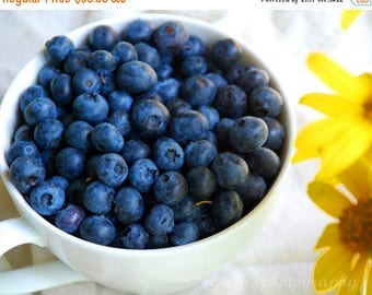50% OFF SALE Food Photography, Still Life Photo, Blueberries, Blue, Yellow, White, Kitchen Art - 8x10 inch Print -Good Morning Sunshine