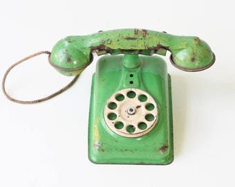 Vintage Green Phone, Toy Rotary Telephone