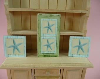 DOLLHOUSE MINIATURE Starfish Wall Art Picture Sign Beach House Tropical Theme Doll House Furnishings Star Fish Fairy Garden Display Sun Room