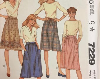 80's McCall's 7229 Misses' Gathered Skirt size 12 Waist 26.5 inches  Uncut Complete Sewing Pattern