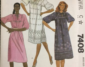 80's McCall's 7408 Misses' Dress  size  Small Bust 32-34 inches  Uncut Complete Sewing Pattern