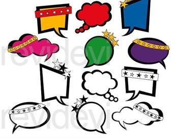 35% OFF SALE Superhero speech bubble clipart - superhero talk bubble clipart - instant download - digital clip art