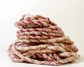 3ply dusk .. handspun art yarn, soft wool, merino home spun, undyed, bulky yarn, knitting
