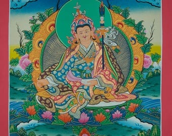 Buddhist Teacher Padmasambhav  Larger Original Thangka Painting from Nepal Non Profit