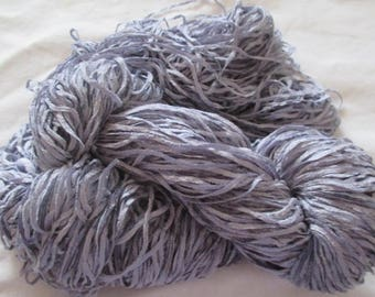 Handpainted Soft Rayon Chenille Yarn  SILVER STRING  -  360 yds