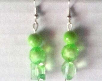 Green Mixed Style Beaded Earrings
