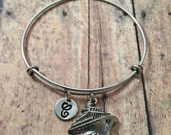 Cruise ship initial bangle - cruise jewelry, vacation bracelet, silver cruise bracelet, gift for cruise lover, travel jewelry, boat bangle
