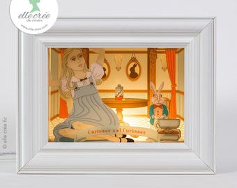 Alice in Wonderland shadowbox nightlight diorama (light & dark skin tones available)