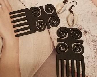African Tribal Comb Earrings