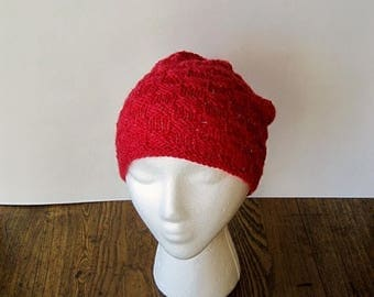 First Fall Sale - 15% Off Hand Knit Hat - Checkered Texture Knit Cap in True Red with Sparkle - Candy Apple Red