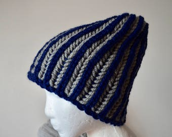 Blue and Grey Brioche Toque - Hand Knit Beanie in 100% Wool. Vertical Stripes, Handknit, Ribbing, Traditional Knit Beanie, Unique Winter Hat