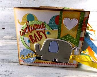 Welcome Baby Scrapbook - New Baby Photo Album -  Mini Scrapbook - Paper Bag Album