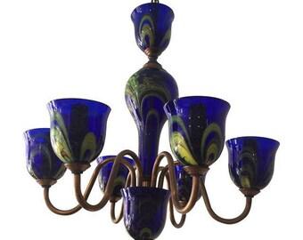 Vintage Cobalt Blue Prague Glass Chandelier