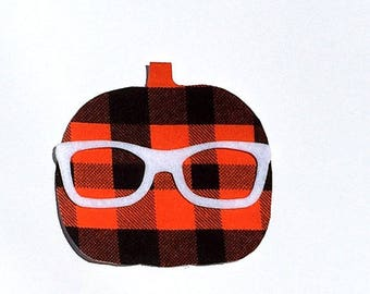 Halloween//Fall/Pumpkin// Geek Glasses//Gender Netral//Fabric Iron On Applique(s)