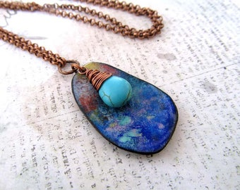 Bohemian jewelry Long necklace Boho necklace Beauty Gift for Her long necklace with pendant Enamel Turquoise necklace