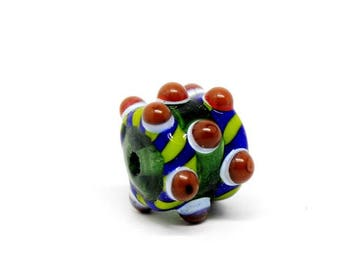 Museum style green brown blue barrel bead