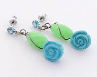 Blue Rose Earrings, Aquamarine Birthstone, Blue and Green Floral Earrings, Rose Jewelry, Gardener Gift, Rosarian Gift, Roses that Never Die
