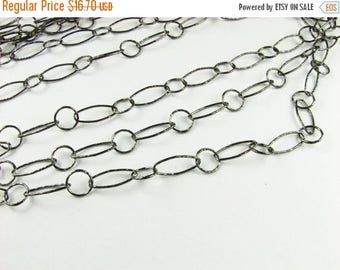 SHOP SALE Textured Ovals and Circles Black Rhodium over Sterling Silver Bubble Chain 12mm and 7mm, Jewelry Chain, Necklace Chain (12 inches)
