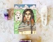 Native American Art White Buffalo Calf Woman Prayer Card Goddess Art Pagan Lakota Mythology Shamanism Divine Feminine Sacred Spiritual Art