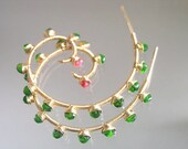 Green Hoops, Chrome Diopside Earrings, Gold Filled Spirals, Orange Sapphire, Lightweight Nautilus Dangles, Holiday, Artisan Designed & Made
