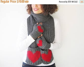 20% WINTER SALE Valentines Day Scarf and Fingerless Gloves Set with Heart by Afra