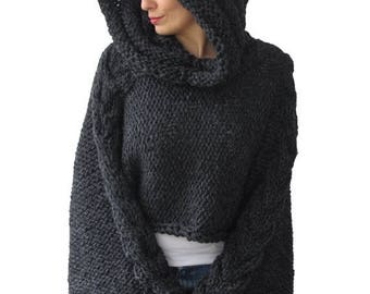 20% WINTER SALE Plus Size Knitting Sweater Capalet with Hoodie - Over Size Dark Gray Cable Knit by Afra
