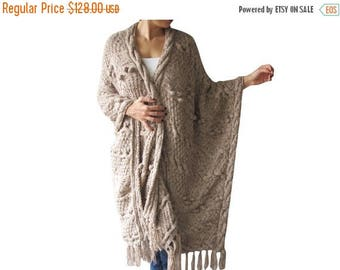 20% WINTER SALE Over Size Plus Size Tweed Beige Hand Knitted Blanket Poncho by Afra