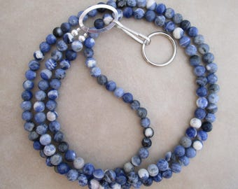 blue sodalite lanyard badge ID holder with silver accents