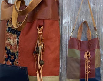 Leather Patchwork Carpetbag Tote with Shoulder Strap and Corset Style Lacing by Stacy Leigh
