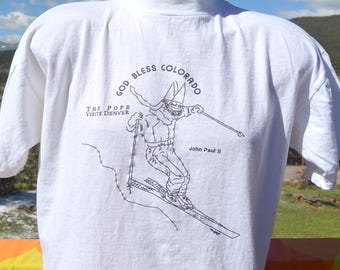 vintage 90s t-shirt POPE john paul ii visits DENVER catholic ski wtf tee Large Medium god bless