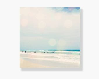 Beach photo canvas gallery wrap, coastal decor, blue, aqua, teal, beach decor, bokeh, beach wall art, ocean photography - Hazy Days