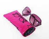 Glasses case, spectacles fabric, magenta pink and black cotton spectacles design, cotton case