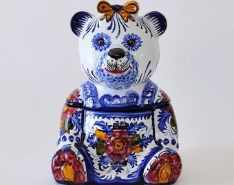 Alcobaca Pottery Portugal Hand Painted Ceramic Bear Storage Biscuit Jar